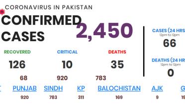 پاکستان میں کورونا متاثرین کی تعداد 2450 ہو گئی